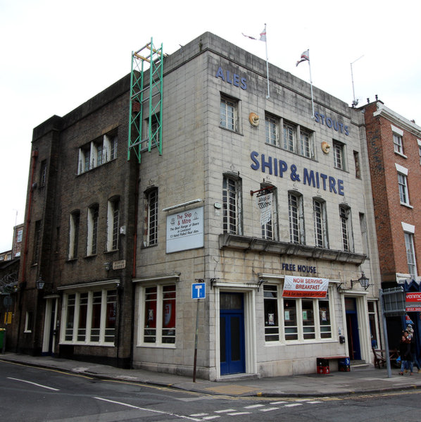 The inter-war exterior of the Ship & Mitre, Liverpool.