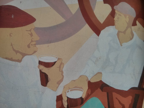 Propaganda-style mural at Tucker's Maltings.