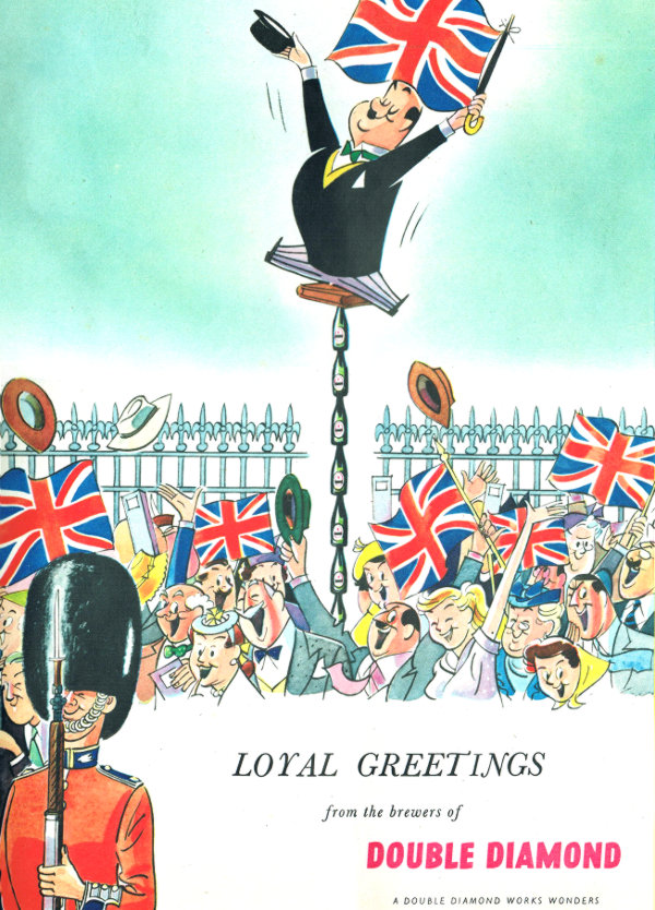 Cartoon: The Double Diamond mascot in bowler hat leaps above a crowd outside Buckingham Palace.