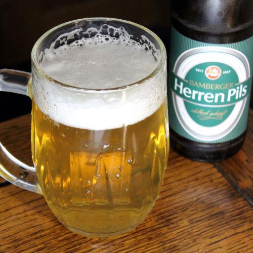 Glass of pale golden beer.