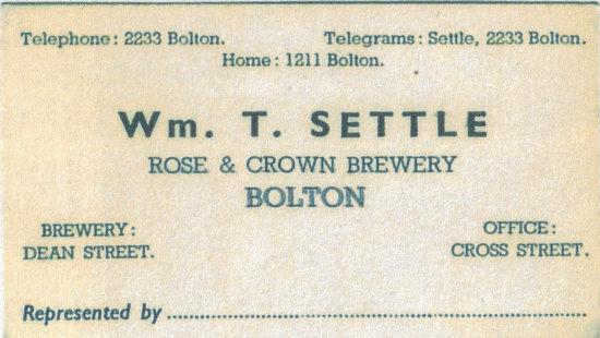 Business card: W.T. Settle.