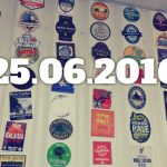 Date overlaid on an image of pumpclips on a pub wall.
