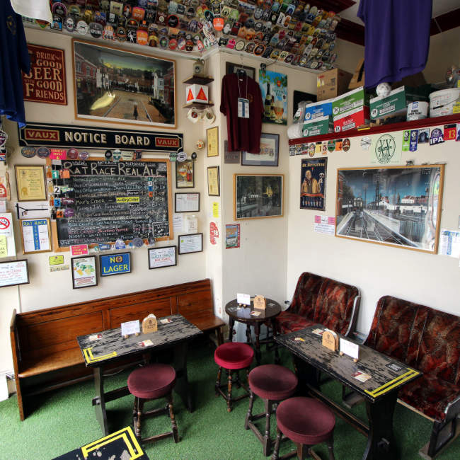 Interior of the Rat Race micropub.