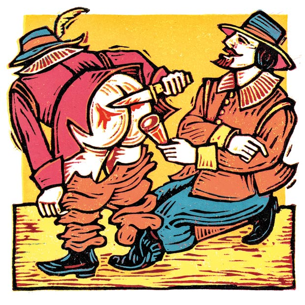 Illustration: Two men playing a drinking game with knives.