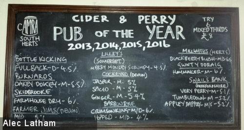 The beer menu at The Mermaid.