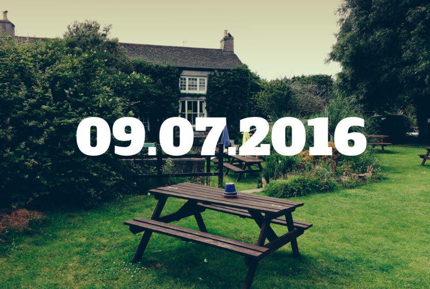 A pub garden with date overlaid.