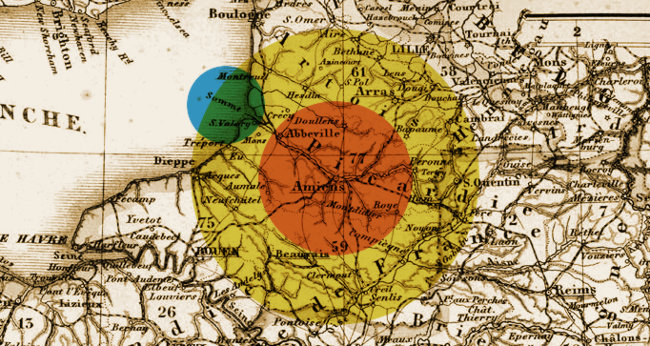 Illustration based on a 19th century Map of Picardy/Somme.