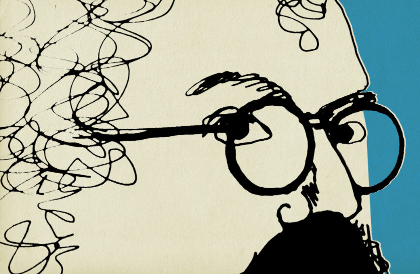 Illustration: Micheal Jackson peers from behind his glasses.