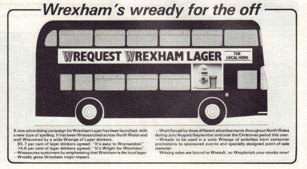 1987 ad for Wrexham Lager.