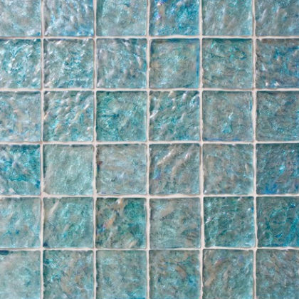 Pearlescent turquoise tiles.