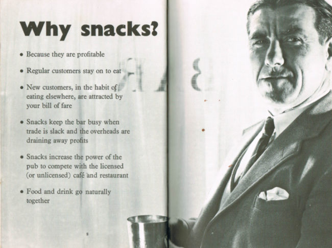 'Why snacks?' (spread with man drinking beer and bullet point list)