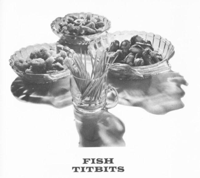 'Fish Titbits' -- bowls of prawns, mussels, etc.