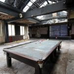 The Fellowship Inn, Bellingham: pool table and dereliction.
