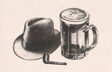 Hat, pipe and pint glass.