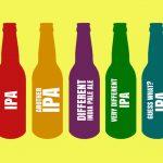 Illustration: five IPA bottles.
