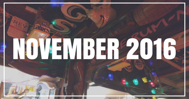 November 2016 (text over picture of pub ceiling).