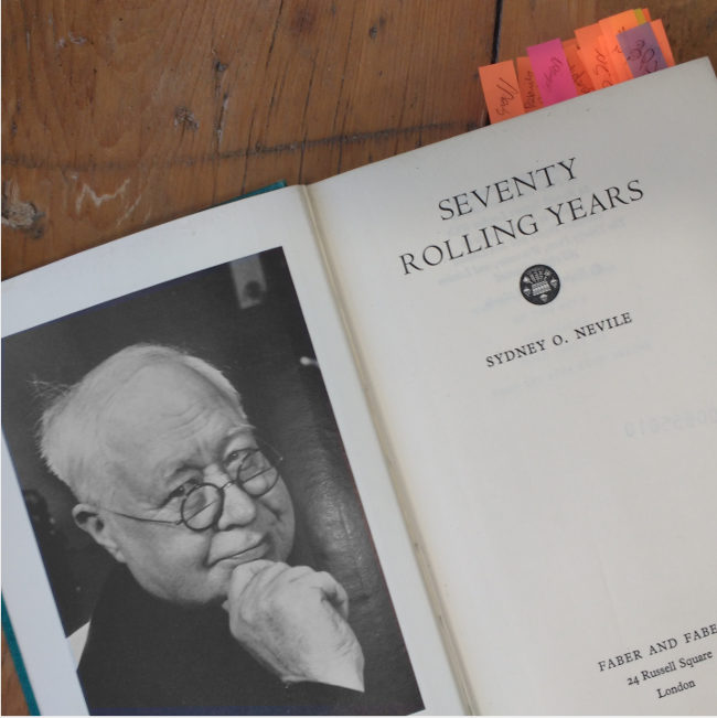 Sir Sydney Nevil's autobiography (page spread).
