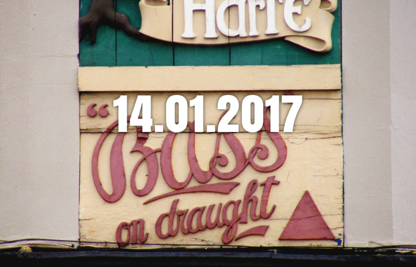 Pub sign: 'Bass on Draught'.