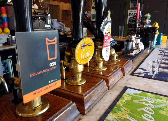 Handpumps at a Bristol pub.