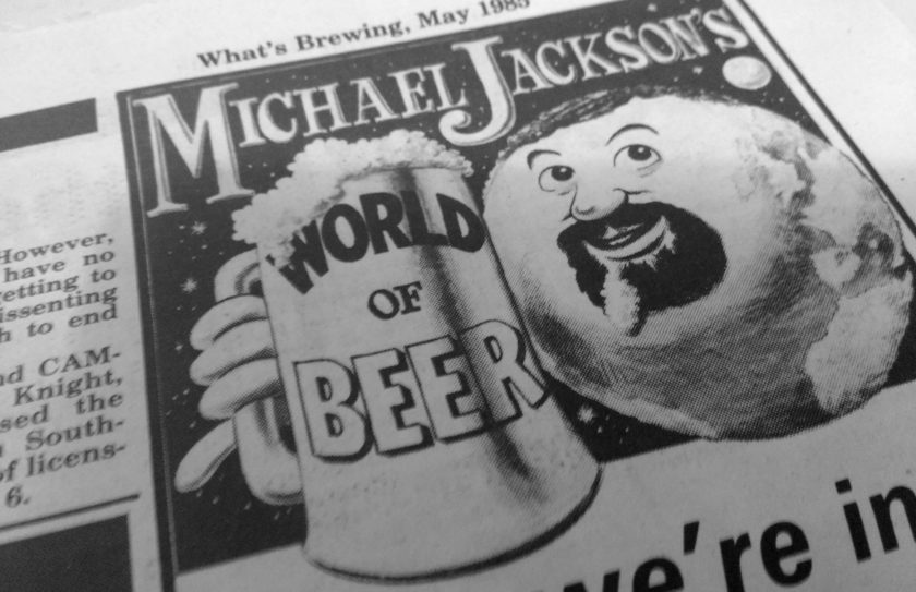 Michael Jackson's World of Beer header from What's Brewing, 1985.