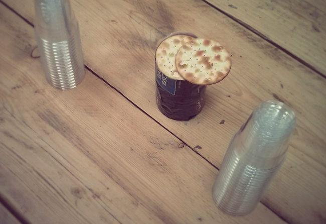 Crackers at a beer tasting.