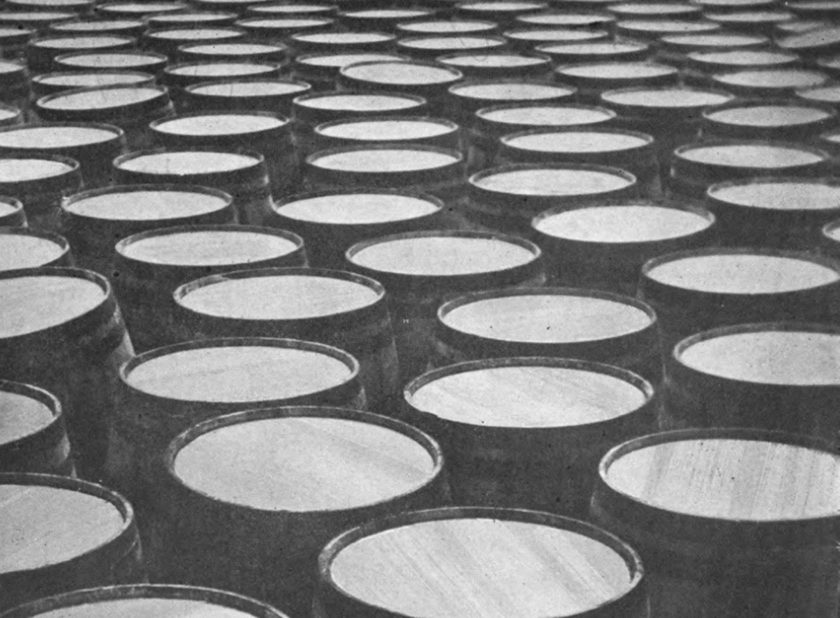 A sea of wooden casks.