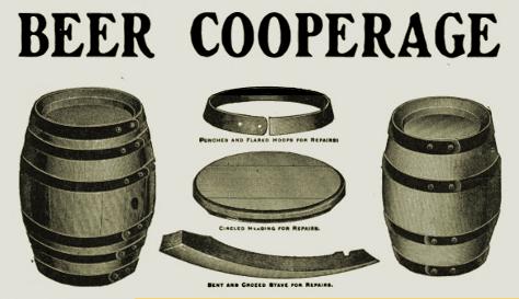 'Beer Cooperage' -- vintage illustration of beer casks.