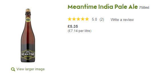 Waitrose screen display for Meantime IPA.