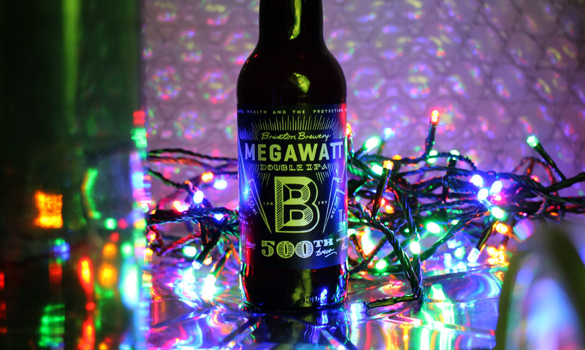 Brixton Megawatt DIPA amidst city lights.