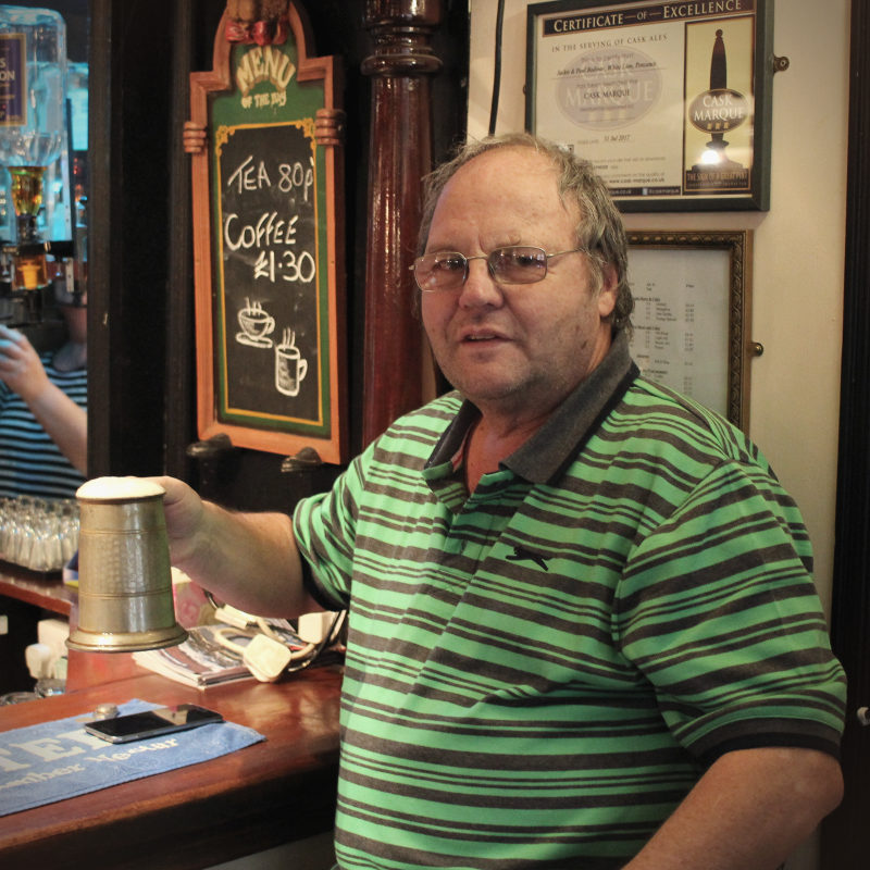 A man in a Penzance pub.