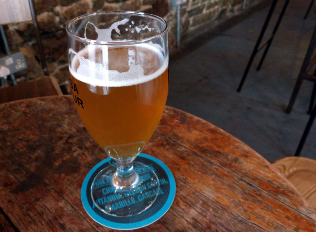 A glass of beer at BrewDog Bristol.