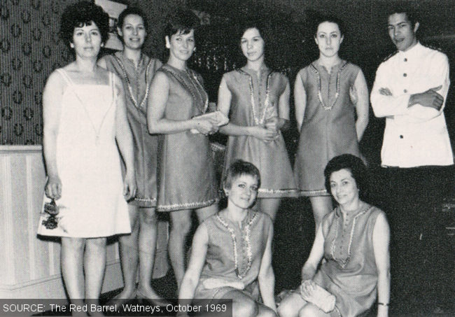 Group shot of waitresses and manageress.