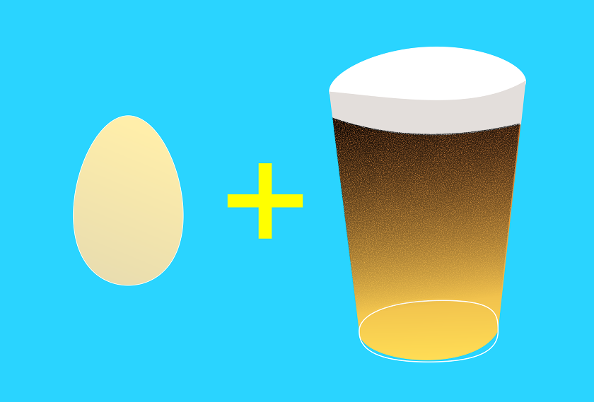 Illustration: egg + pint of beer.