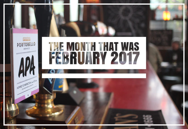 A bar counter with hand pumps: The Month That Was February 2017