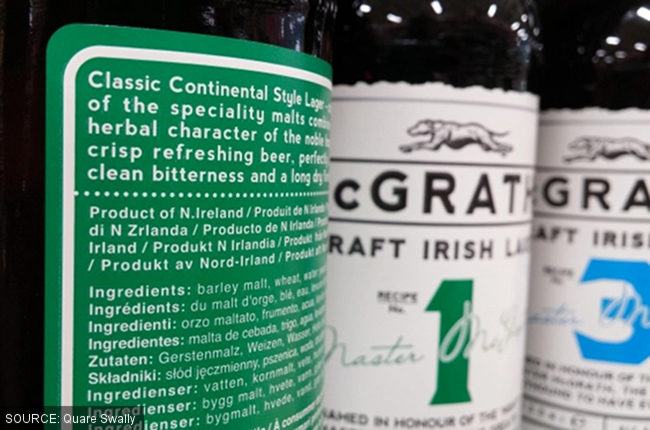 Beer bottles labels: 'Product of Northern Ireland'.
