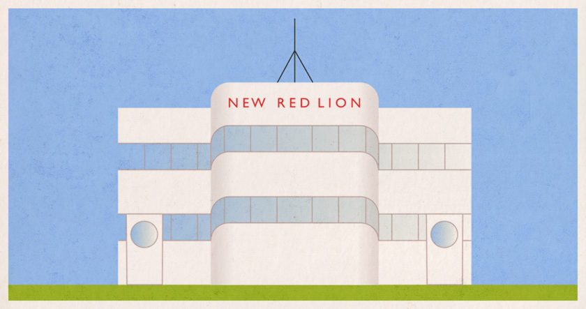 Illustration: The New Red Lion, an art deco pub.