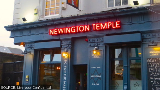 The Newington Temple with neon sign.