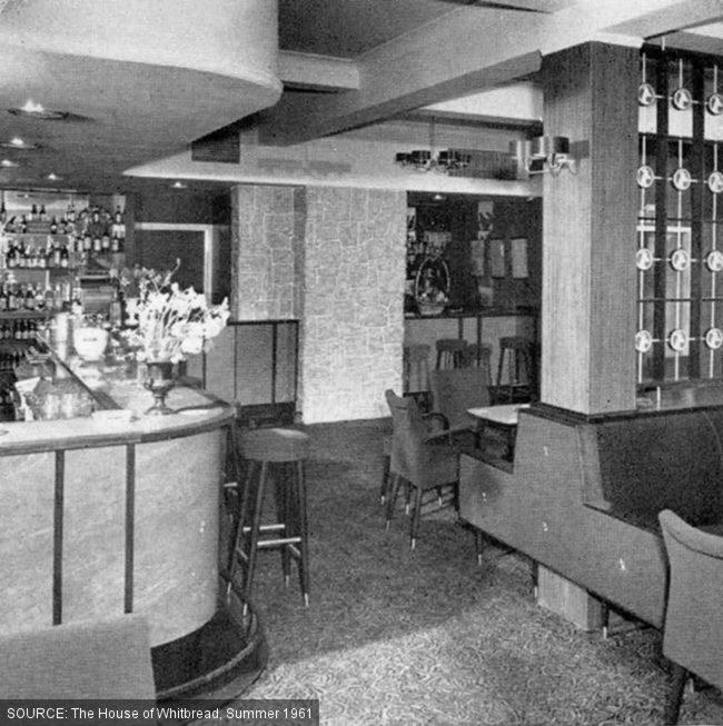 Saloon bar at the Roebuck -- carpets and banquettes.