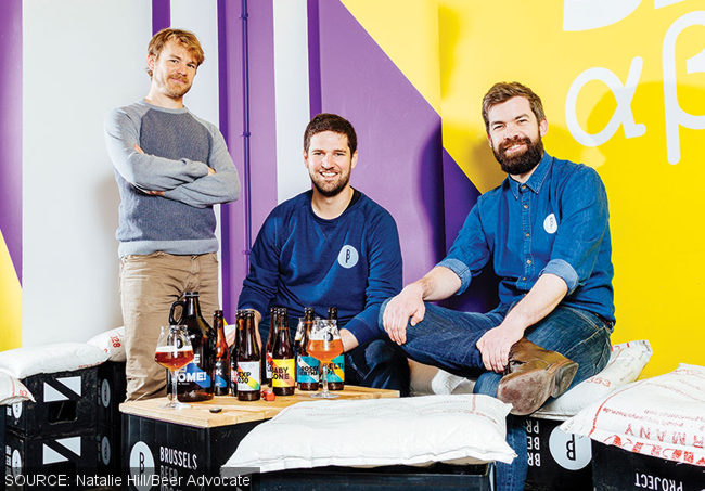 Brussels Beer Project brewer Antoine Dubois, and founders Olivier de Brauwere and Sébastien Morvan.