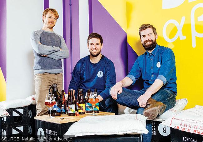 Brussels Beer Project brewer Antoine Dubois, and founders Olivier de Brauwere and Sébastien Morvan.