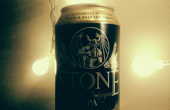 A can of Stone Brewing beer.