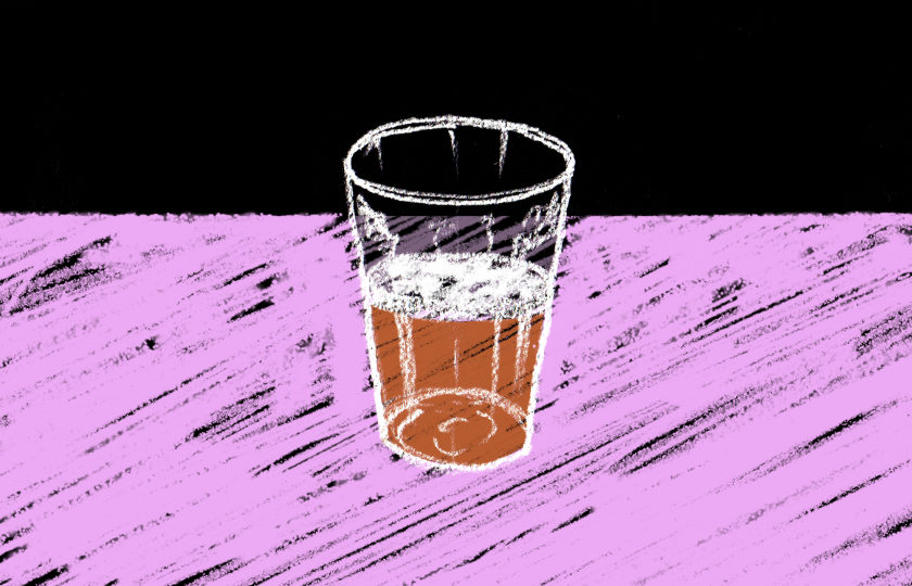 Illustration: a pint of beer in chalk on a blackboard.