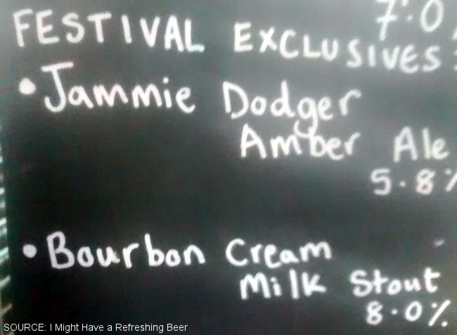 Biscuit beers on a blackboard.