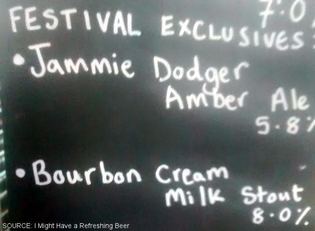 Biscuit beers on a blackboard.