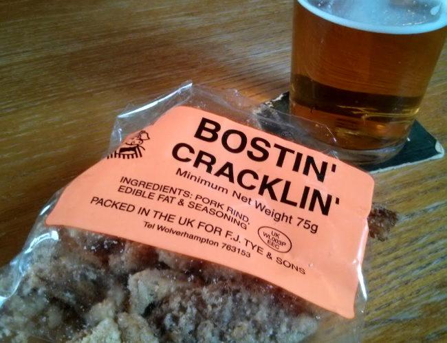 Bostin' Cracklin' pork scratchings.