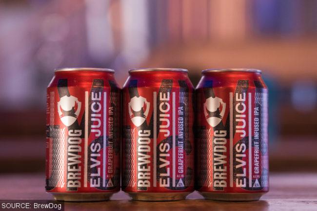 BrewDog Elvis Juice in cans.