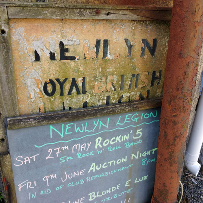Old signs outside the Newlyn branch of the Legion.