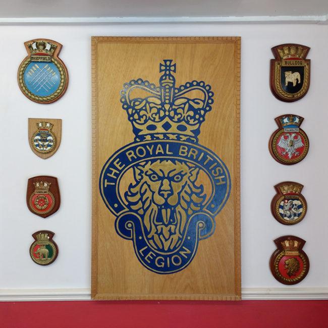 British Legion crest in the foyer of the club in Penzance.