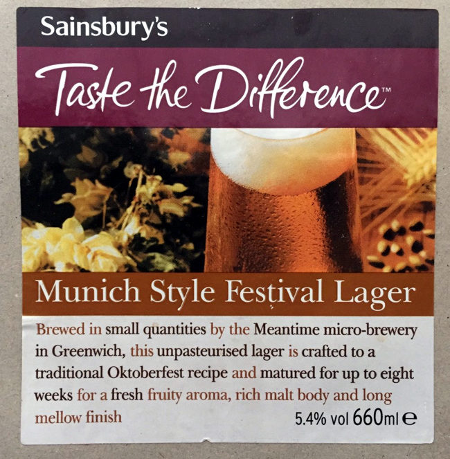 The label for Meantime/Sainsbury's Munich Festbier.