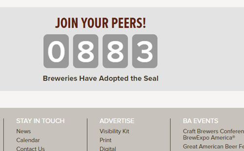 A counter from the BA website: 883 breweries have adopted the seal.